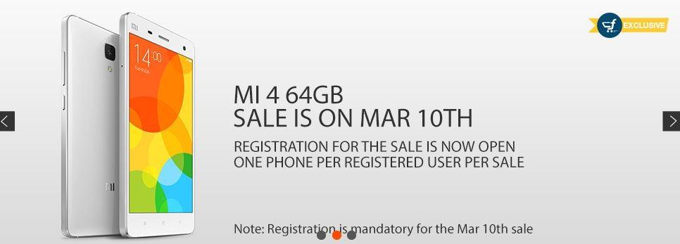 Xiaomi Mi4 64GB Flipkart Flash Sale 3.0 to go Live on 10 March
