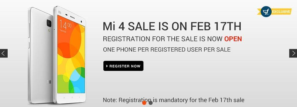 Xiaomi Mi4 Flipkart Flash Sale to Go Live on 17 February