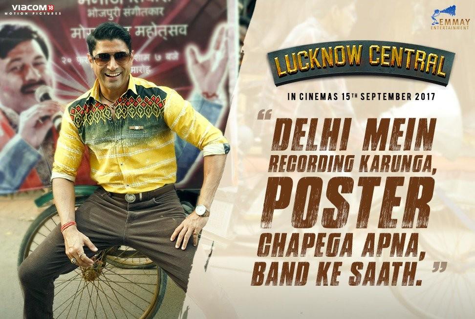 Farhan Akhtar,Deepak Dobriyal,Ronit Roy,Gippy Grewal,Rajesh Sharma,Inaamulhaq,Uday Tikekar,Sukh Kunwa,Diaan Penty,Lucknow Central,Lucknow Central poster,Lucknow Central movie poster