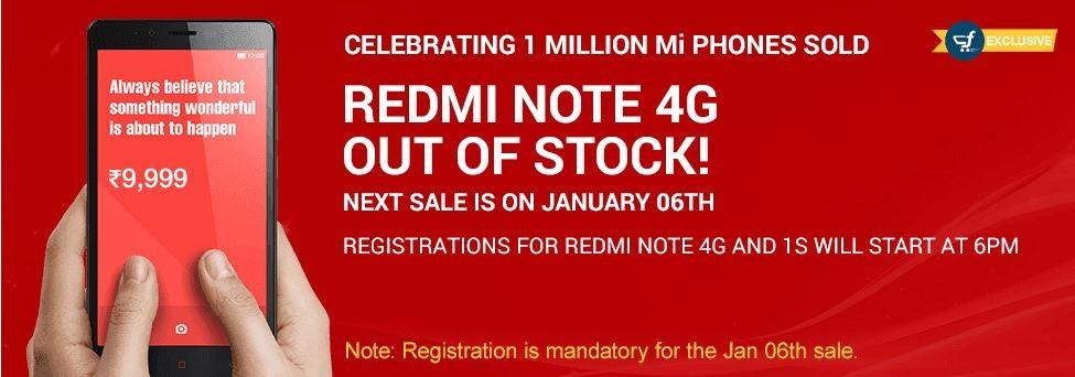 Xiaomi Redmi Note 4G Flipkart Flash Sale: 40,000 Units Sold out in 6 Seconds; Redmi 1S Re-release Next Week