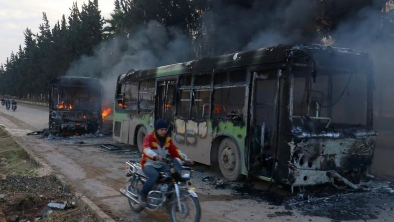 Evacuations of Aleppo continues after buses burned