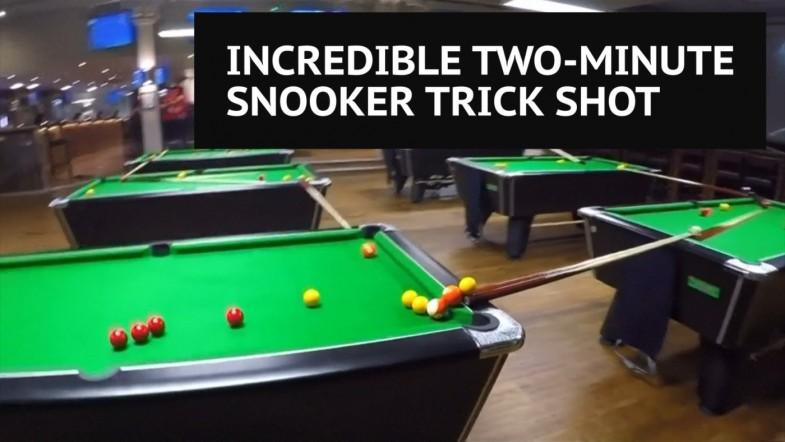 UK snooker club stages incredible two minute trick shot