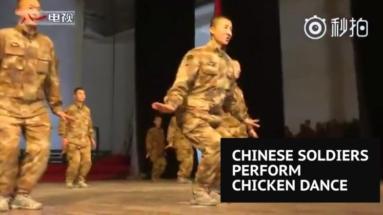 Chinese soldiers perform special Little Chicken Dance to celebrate Year of the Rooster