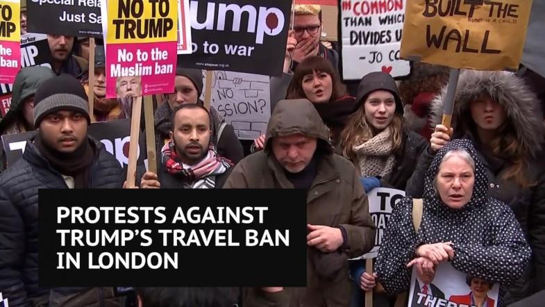 Protesters gather in London to fight against Trump immigration order