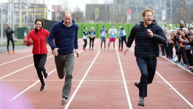 William, Kate and Harry compete in relay race for mental health campaign