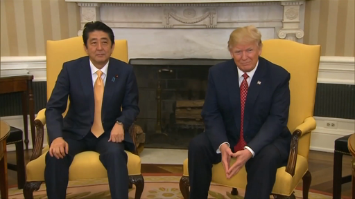 Donald Trump squeezes Japanese PM Shinzo Abes hand in hilarious video