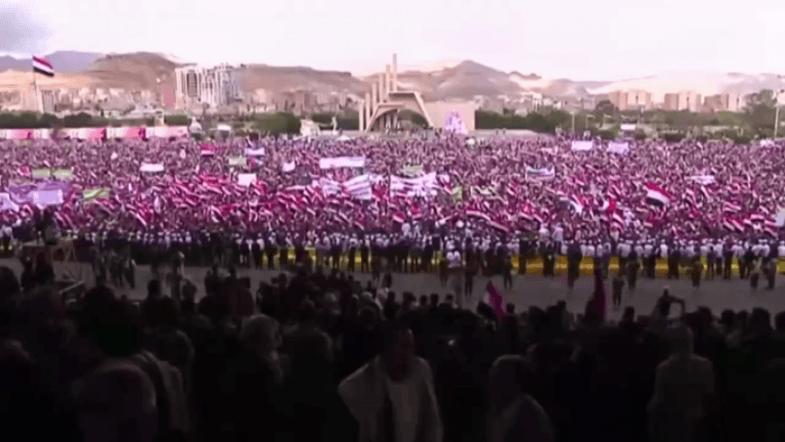 Yemenis rally in Sanaa to mark second anniversary of war