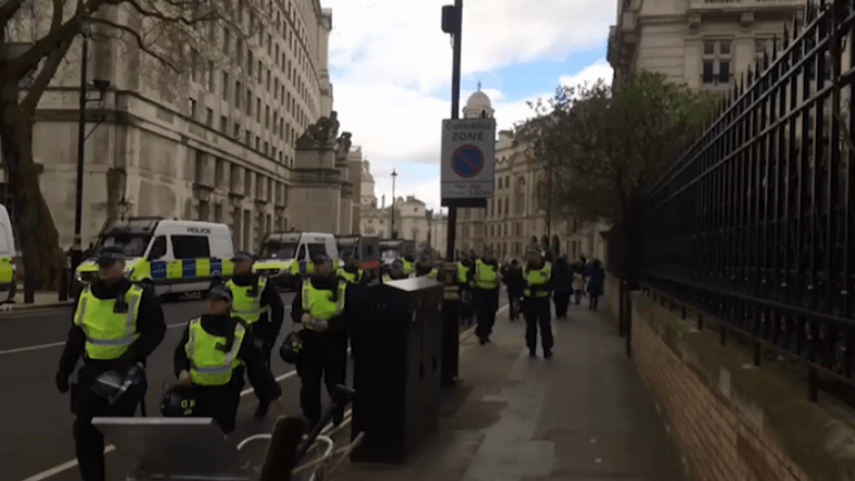 Britain First and EDL protest in London with heavy police presence