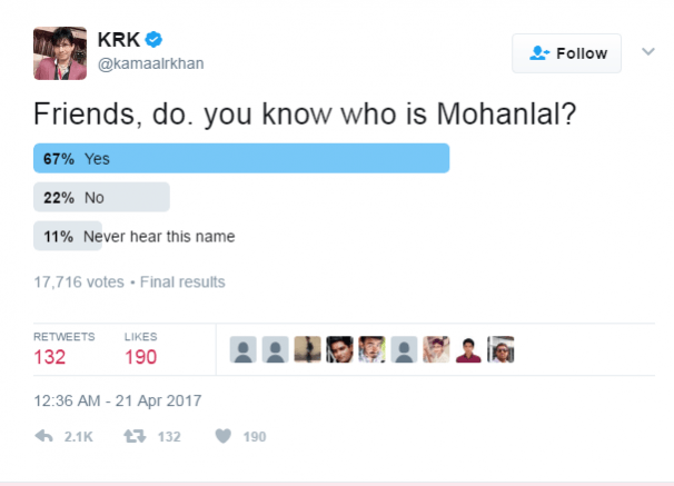 Krk Asks If Anyone Knows Who Mohanlal Is Twitter Responds And How Ibtimes India *me rereading my own tweet every time someone likes it*. krk asks if anyone knows who mohanlal