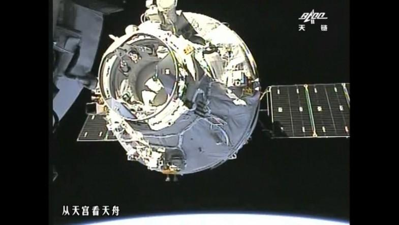 Watch unmanned Chinese cargo ship Tianzhou-1 dock with space lab