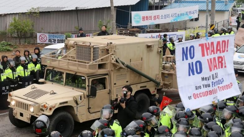 Thaad movement to deployment site sparks protests in South Korea