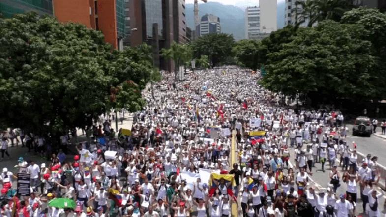 Thousands of women march in protest against Venezuelan President Nicolas Maduro