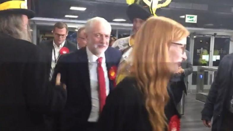 Labour leader Jeremy Corbyn arrives for poll count
