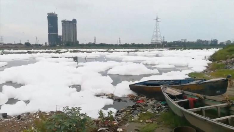 Video shows toxic foam floating on Yamuna river
