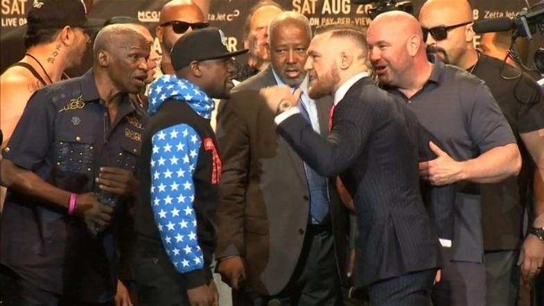 Things get heated as Mayweather vs McGregor press tour kicks off