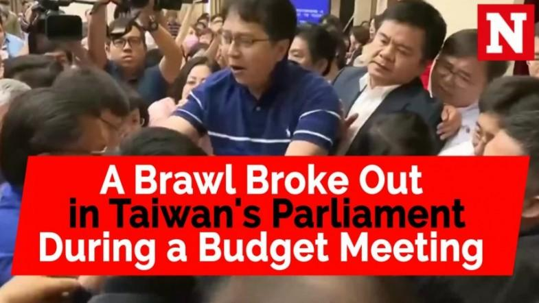 A brawl broke out in Taiwans parliament during a budget meeting