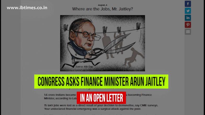 Congress writes open letter to Arun Jaitley