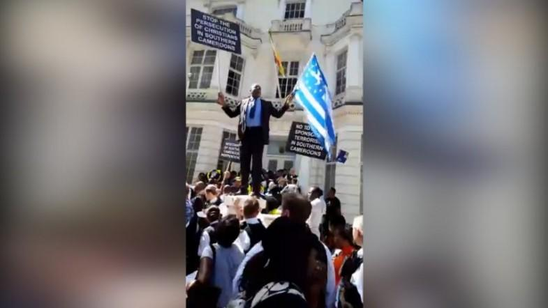 Dozens protest outside Cameroonian embassy in London amid ongoing unrest