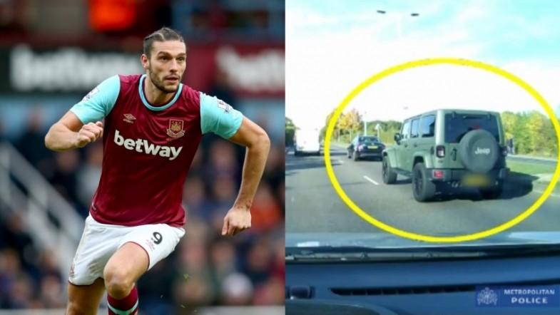 Watch West Hams Andy Carroll speed through oncoming traffic escaping motorbike robbers