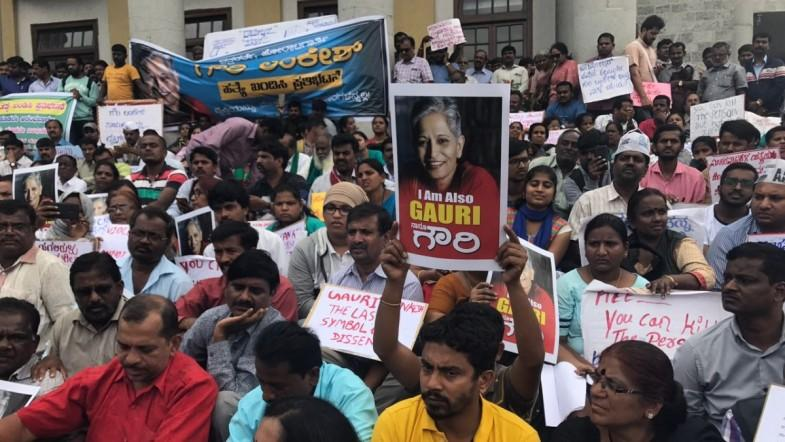 Protests of Gauri Lankesh Murder at Town Hall, Bengaluru