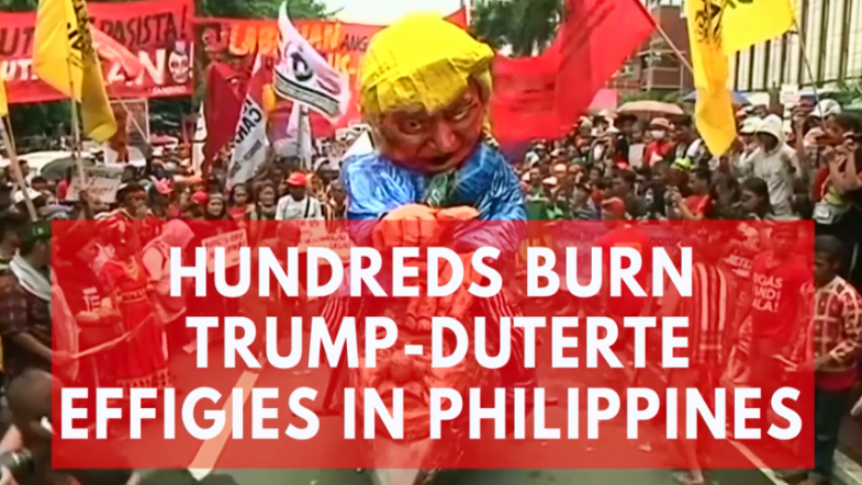 Hundreds burn Trump-Duterte effigies in Philippines