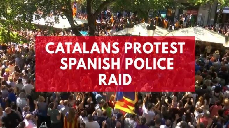 Thousands protest after Spanish police raid Catalan ministry ahead of banned independence vote