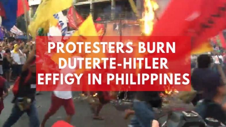 Protesters burn Duterte-Hitler effigy in Philippines