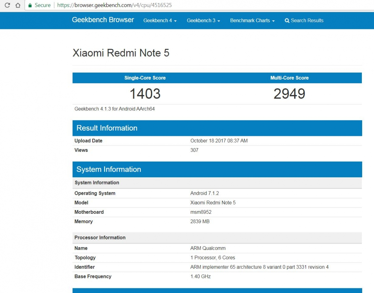 Xiaomi Redmi Note 5 Specifications  Geekbench Scores