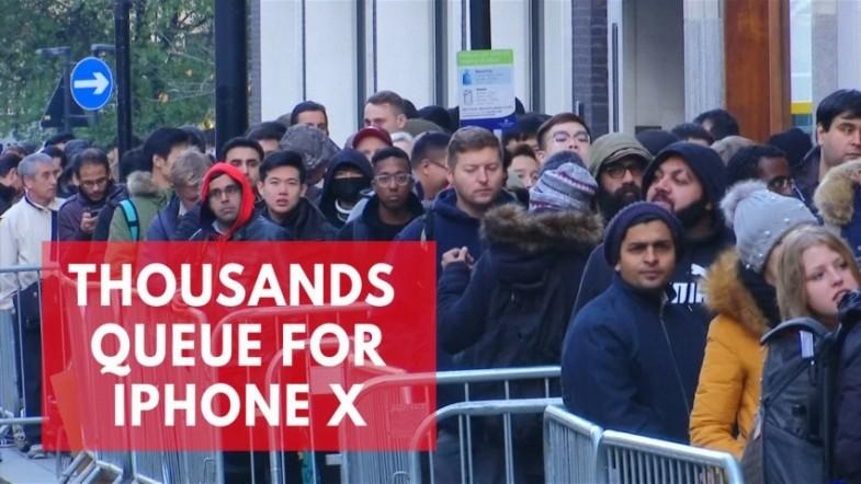 Thousands queue outside apple stores to get new iPhone X