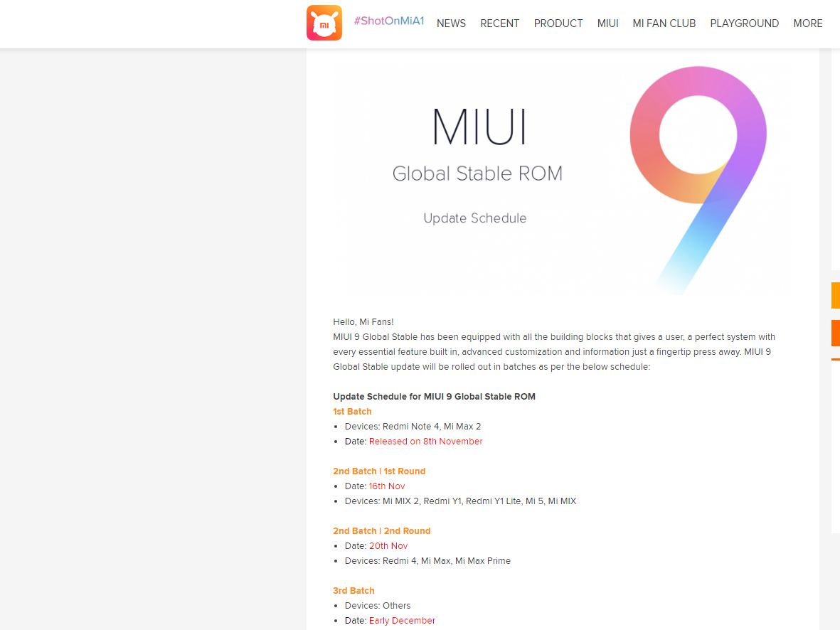 Xiaomi MIUI 9 global ROM Android Nougat stable release
