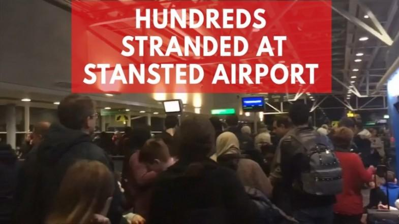 Hundreds stranded at Stansted Airport as snow and ice hit Britain