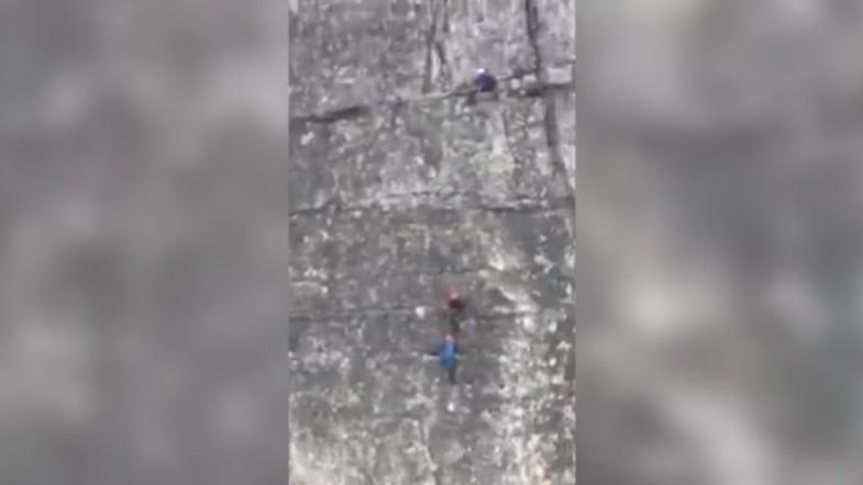 Cable car rider captures dramatic mountain rescue attempt moments before deadly fall