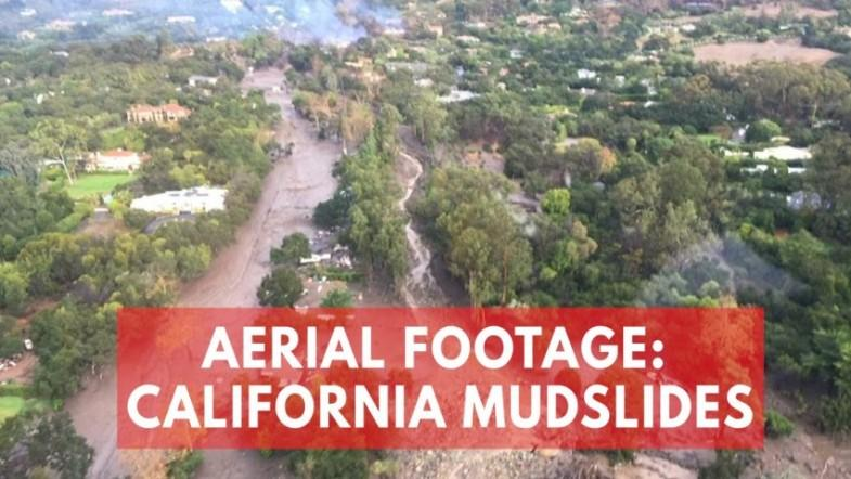 Aerial footage shows damage and rescues after mudslides in California as death toll rises to 13