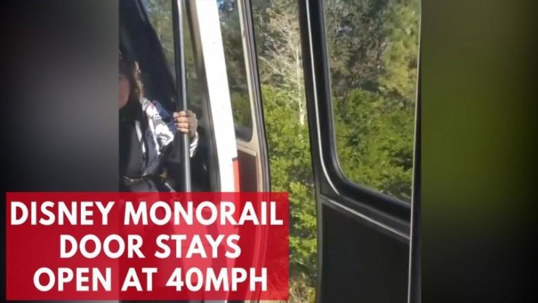 Passengers alarmed as Disneys monorail travels with open door