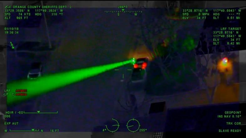 Police helicopter catches laser-strike suspect on Camera, leads to felony arrest