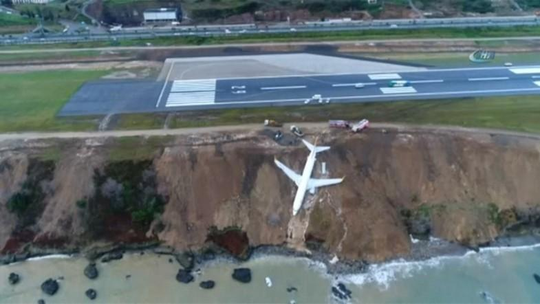 Turkish plane skids off runway on to steep slope