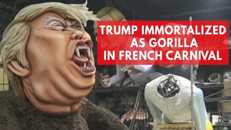Donald Trump depicted as gorilla in Frances Carnival De Nice