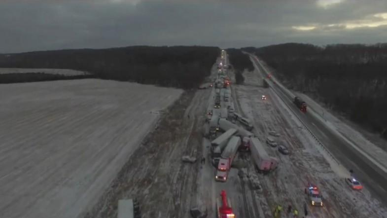 Firefighters share drone video of multi-vehicle crash