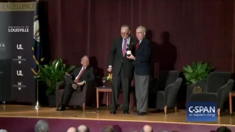 Senate Minority Leader Chuck Schumer and Senate Majority Leader Mitch McConnell spar over bourbon