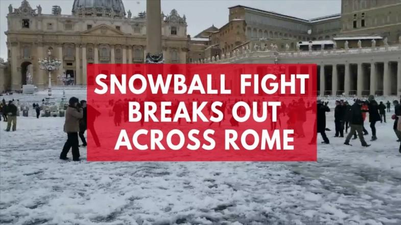 Snowball fight breaks out at the Colosseum and Saint Peters Basilica