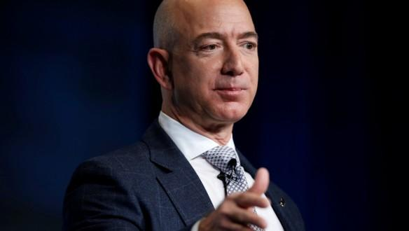 Jeff Bezos, founder of Blue Origin and CEO of Amazon, speaks about the future plans of Blue Origin during an address to attendees at Access Intelligence's SATELLITE 2017 conference in Washington, U.S., March 7, 2017.