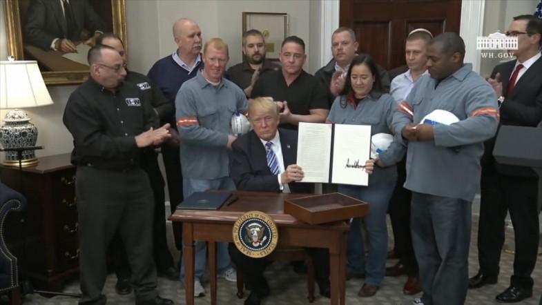President Trump signs tariffs on steel and aluminium