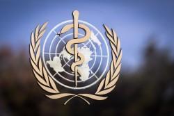 The logo of the World Health Organization (WHO)