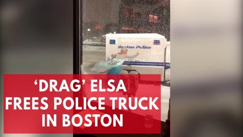 Man dressed as Disneys Elsa frees police truck in Boston