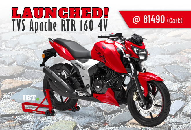 tvs apache rtr 160 4v launched in india priced at rs 81 490 ibtimes india. Black Bedroom Furniture Sets. Home Design Ideas