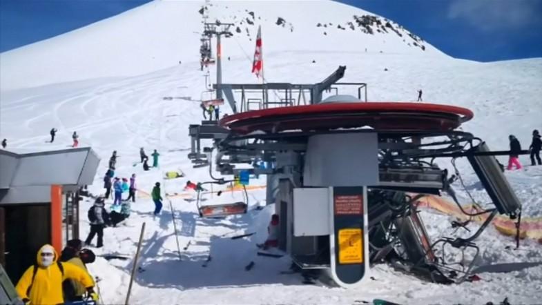 Tourists violently flung off Georgia ski lift