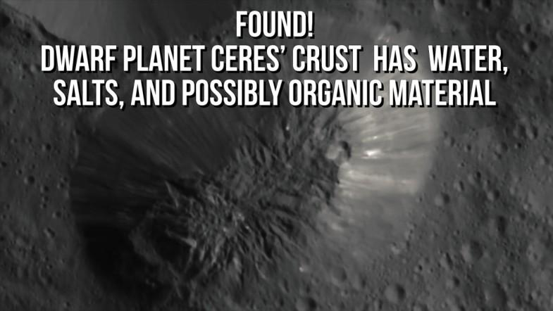 Dwarf planet Ceres' crust  has  water, salts, and possibly organic material