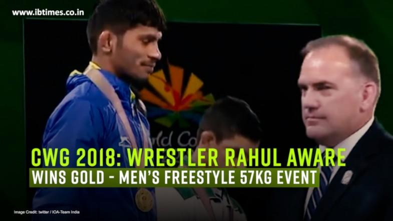 Wrestler Rahul Aware wins gold medal in mens freestyle 57kg category