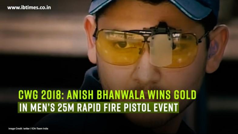 CWG 2018: Anish Bhanwala wins gold in Mens 25m Rapid Fire Pistol event