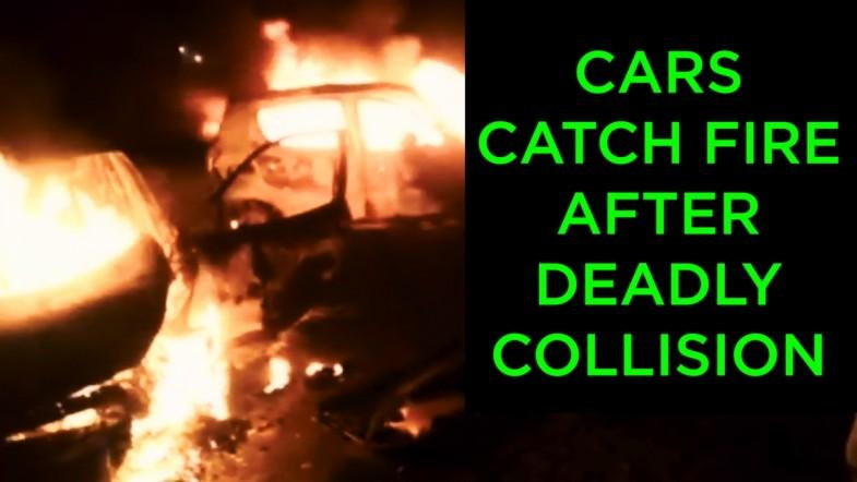 Cars catch fire after deadly collision